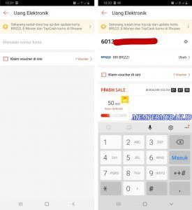 Cara Beli Saldo Kartu e-TollBrizzi Melalui Shopee di HP Android 3